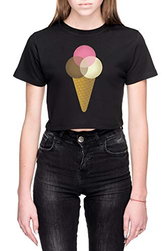 Ijsje Venndor Dames Crop T-Shirt Zwart Women's Crop T-Shirt Black