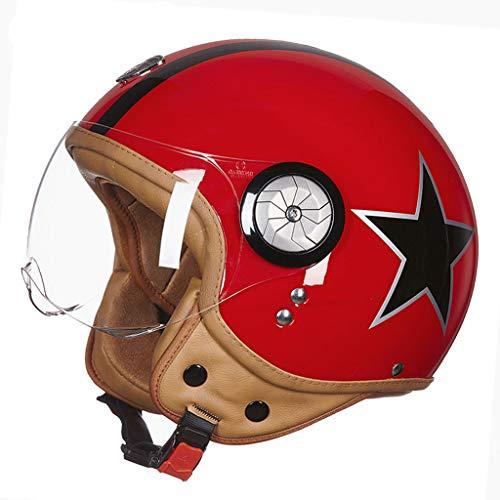 Casque moto hommes et femmes demi casque casque de locomotive de voiture électrique rétro casque (Couleur : D-L(57-58cm))