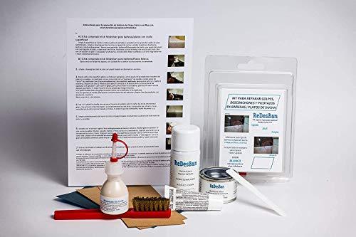 Kit-Ker CRAMER ESPECIAL GOLPES OXIDADOS.Arregle y repare golpes, picotazos y desconchones en bañeras y platos de ducha-USO DOMÉSTICO-7 COLORES (Blanco)