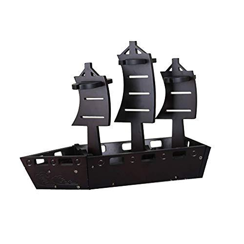 Estante para botellas de vino copas vino encimera Estante del vino premium de vela de madera formas de diseño se adapta fácilmente 4 botellas de diseño decorativo Gran cesta de regalo for su favorito