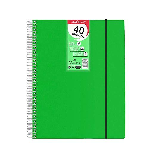 182014VE - Carpeta espiral flexible con 40 fundas transparentes, tamaño A4, cierre de goma elástica, tapas de polipropileno color (Verde) ✅