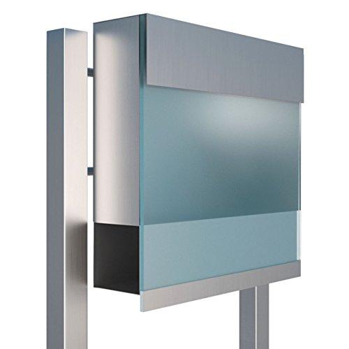 Standbriefkasten mit Zeitungsfach, Design Briefkasten Manhattan Stand Edelstahl/Acryl Blau - Bravios