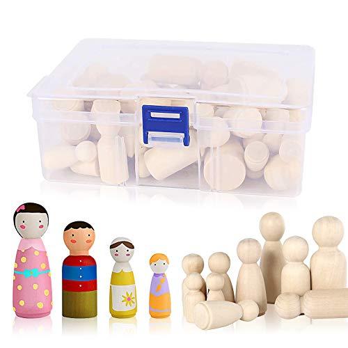 Diealles Shine Muñecas de Madera, 50 Piezas Muñeca sin Terminar Decorativa, Peg Dolls para DIY Manualidad Decoración Artes y de Pintura