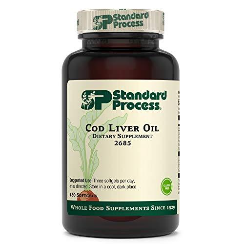 Standard Process Cod Liver Oil - EPA and DHA - Whole Food Eye Support, Skin Health, Antioxidant Supplement for Bone Health, Heart Health, Eye Health, Bone Strength, and Mood Support - 180 Softgels