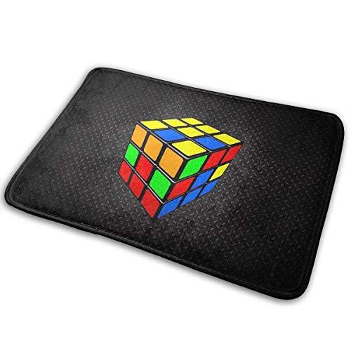 NA Felpudo de Moda Cubo de Rubik Gráficos Divertidos Alfombra de Piso de Entrada Alfombra Antideslizante de Terciopelo de Coral Alfombras de Puerta para Interiores y Exteriores para Dormitorio
