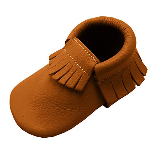 YIHAKIDS Baby Tassel Shoes Soft Leather, Dark Orange, Size 12-18 covid 19 (Orange Leather Footwear coronavirus)