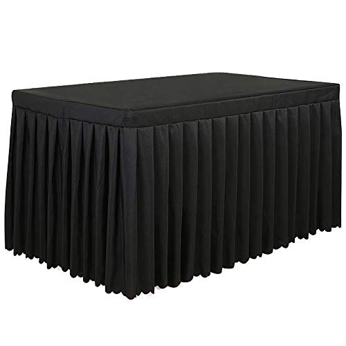 Tina 4 Foot Polyester Fitted Tablecloth Table Skirt For Wedding Banquet Trade Show Black