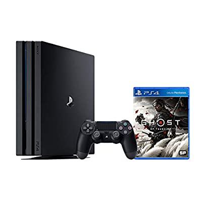 PS4 Playstation 4 Pro 1TB Console with Ghost of Tsushima Pro 1TB Jet Black 4K HDR Gaming Console, DualShock 4 Wireless Controller and Game from PS4