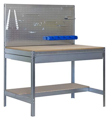 Banco de trabajo BT2 con cajón Simonwork Galva/Madera Simonrack 1445x1510x610 mms - Banco de trabajo con panel - mesa de bricolaje 600 Kgs de capacidad por estante