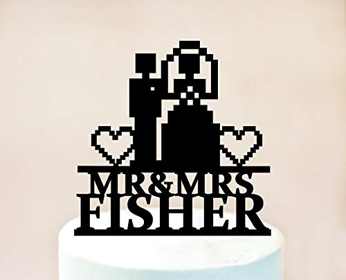 Gamer wedding Cake Topper 8 bit Video game vintage silhouettes birthday wedding custom colors unique decor toppers for anniversary party baby shower