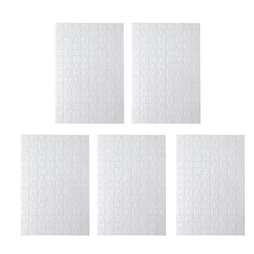 Toyvian Puzzle Bianco A4 Puzzle Bianco per progetti artistici Color-in Fai da Te, 120 Pezzi ciascuno, 5 Confezioni