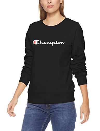 Champion Women's Script Pullover Crew, Black, Medium