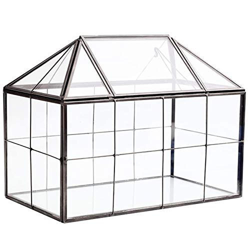 Varadyle Glass Glass Terrarium Handmade House Shape Geometric Glass Container with Swing Lid Indoor Planter for Succulents