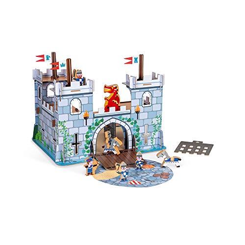 Janod fortificado Story-8figuritas de Madera-Juguete de imaginación-Caballeros, Dragones y Castillos-A Partir de 3años (JURATOYS J08582)
