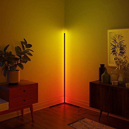 Corner Floor Lamp Nordic Decoration Home Floor Lamps for Living Room Night Light Dimming Standing Lamp Bedroom Decor Floor Light, RGB Remote Control Discoloration,Black…