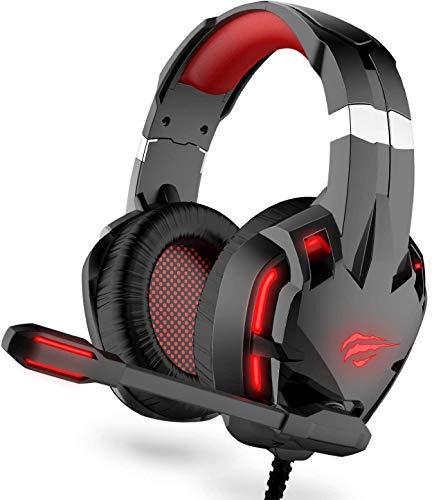 havit Auriculares Gaming PS4 Cascos Gaming Sonido Envolvente, Controlador de 50MM y micrófono con reducción de Ruido para Xbox One/PC/Móvil (2001d-R,Rojo)