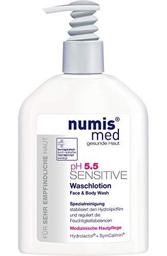 numis med Waschlotion ph 5.5 SENSITIVE - Körperlotion Spender vegan & seifenfrei - Lotion für sensible, feuchtigkeitsarme & zu Allergien neigende Haut - Gesichtspflege (1x 200 ml)