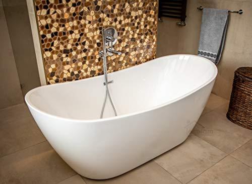 ECOLAM exklusive freistehende Badewanne Standbadewanne moderne Wanne freistehend Clara 170x80 cm + Ablaufgarnitur Click Clack Design Acryl glamour weiß