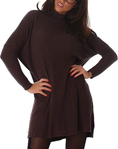 Jela London Damen Oversize Pullover zart weich Streifen-Muster kuschelig Pulloverkleid Longpulli, Einheitsgröße 36 38, Braun