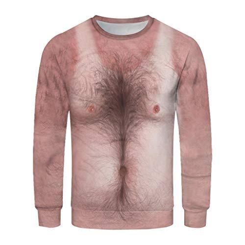 TANGTANGYI Herren Pullover Hässliches Brusthaar 3D Bedruck Langarm Sweatshirt Männer Pulli Langarmshirt Oberteile T-Shirt Sweat (Weiß XXL)