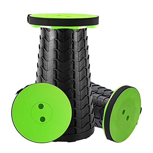 Klapphocker Tragbarer Campinghocker Teleskophocker - bis 180 kg mit Aufbewahrungstasche Höhenverstellbar 6.5 bis 45cm Leicht Klappstuhl für Innen und Außen (Grün)