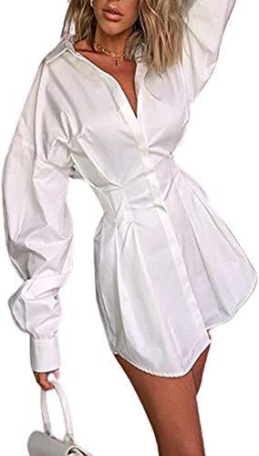 WangsCanis art und weise frauen shirts kleid-dünne spitze t-shirt minikleid büro ladyelegant weiß v-ausschnitt sexy langarm-kleid-frauen-herbst-kleidung der legere kleidung(weiß,m)