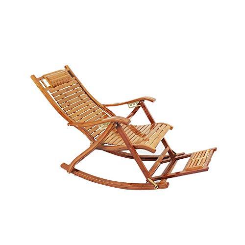 GFE Faltender Bambusschaukelstuhl, Stuhlerwachsener Siestastuhl Recliner, mit Fußmassage-Brett, im Freiengarten-kampierender Strand-Nichtstuer
