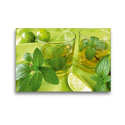 Premium Textil-Leinwand 45 x 30 cm Quer-Format Eistee mit Zitronenminze   Wandbild, HD-Bild auf Keilrahmen, Fertigbild auf hochwertigem Vlies, Leinwanddruck von Heike Rau