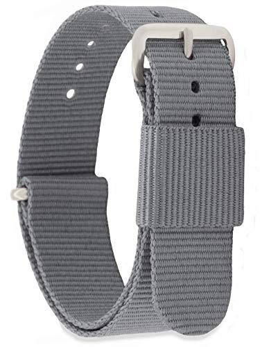 MOMENTO Damen Herren NATO Nylon Ersatz Uhren-Armband Strap mit Edelstahl-Schliesse in Silber und Nylon-Armband in Grau 22mm
