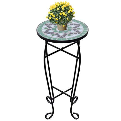 Mesa auxiliar Mosaico con estructura de hierro + tablero de cerámica, altura de la mesa 60 cm, verde y blanco