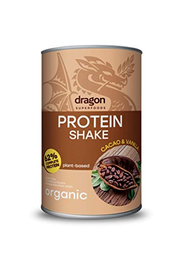 Dragon Superfoods Cocoa and Vanilla Protein Powder for Optimum Nutrition. 100% Bio Organic, Soy and Gluten Free Vegan Protein. With all the Essential Amino Acids - 500gr (30 servings).
