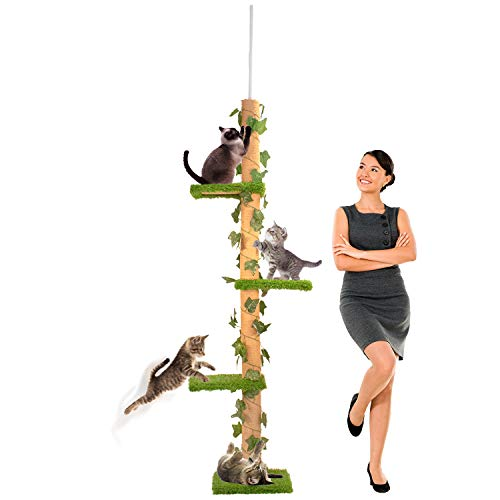 Downtown Pet Supply Tall Cat Activity Tree with 4 Levels and Sisal Scratching Posts with Securing Mechanism (Tall 4-Level Scratch Post)