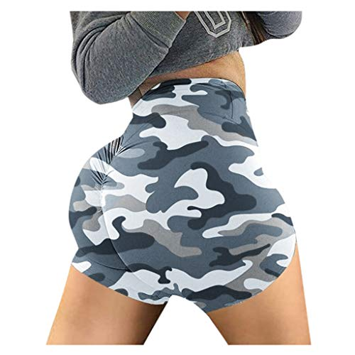 HULKY Damen Kurze Sporthose, Tarnung Hohe Taille Yoga Leggings Kurze Hose Sweatpants Laufshorts Training Fitness Yoga-Shorts Kompression Basic Slip Bike Shorts(Grau,XL)
