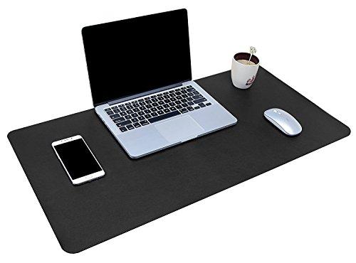 YSAGI Multifunktionale Schreibtischunterlage, ultradünn, wasserdicht, PU-Leder, Mauspad, zweiseitig nutzbar, für Büro/Zuhause 80 x 40 cm Schwarz
