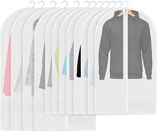 InnoGear Garment Bags, 12 Pieces Cloth Covers Dustproof Garment Covers with Zipper, Breathable Insect-proof Dress Bags (8pcs 60 * 100cm + 4pcs 60 * 120cm)