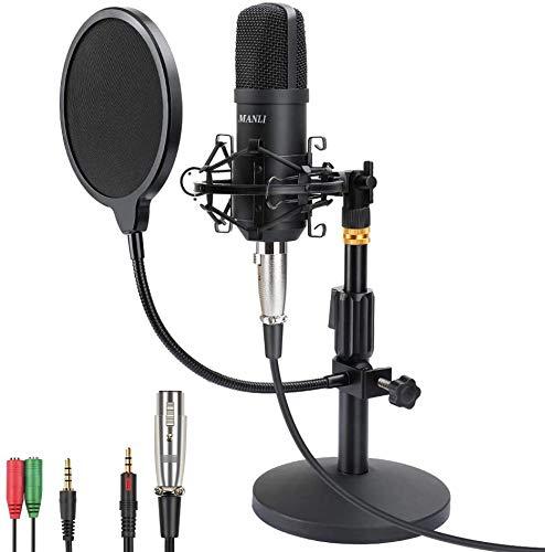 Micrófono de Condensador Micro Grabación Patrón Polar Cardioide para Grabar Música y Video Podcast Transmisión en Vivo Juegos Chat Soporte de Brazo