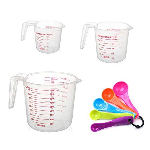 Vasos de escala de plástico, Juego de tazas medidoras 3 piezas Jarra medidora con asa + 5 piezas Juego de cucharas medidoras Jarra medidora transparente para Cocina, Laboratorio