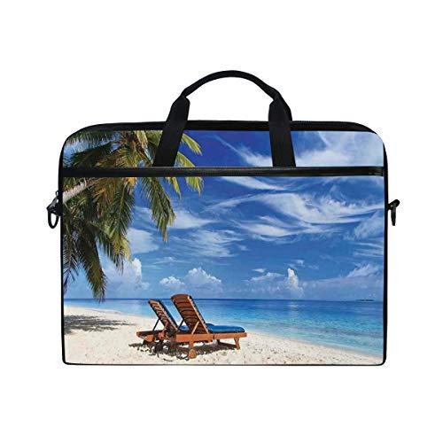 LOSNINA Laptop Tasche 15-15.4 Zoll,Zwei Strandstühle auf tropischem Sandy Under Palm Trees Relaxing,Neue Leinwand Drucken Muster Aktentasche Laptop Schulter Messenger Handtasche Case Sleeve