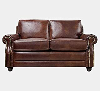 Genuine Leather Loveseat with Cushion Seat - Loveseat with Nailhead Trim and Round Arms - Havana