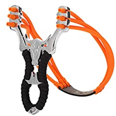 【PROFESSIONAL FOR HUNTING】 This slingshot is fast & easy to shoot, widely used for outdoor hunting practice, competition practice, training and other fields hunting and small games. 【STAINLESS STEEL FRAME】 Stainless steel frame with three holes fork ...