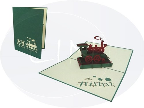 POP UP 3D Karte Geburtstagskarte Gutschein Lokomotive grün (#152)