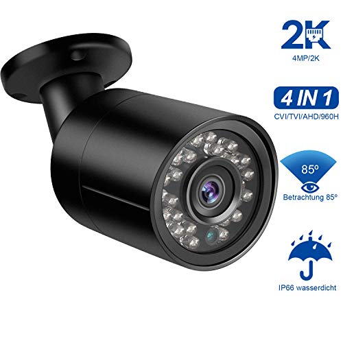 Dericam 4MP Telecamera di Sicurezza CCTV Bullet Camera HD-CVI/TVI/AHD/960H Videosorveglianza 4-in-1 Analog CVBS, Custodia metallica IP66, 24 IR LED/82ft Visione Notturna, PAL, B4B