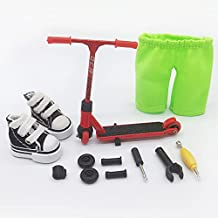 Mikemeng Finger Scooter with Mini Scooters Tools and Shoes Finger Board Accessories - Pack 1 Red Finger Toy for 6+ Years Old Kid (Red)