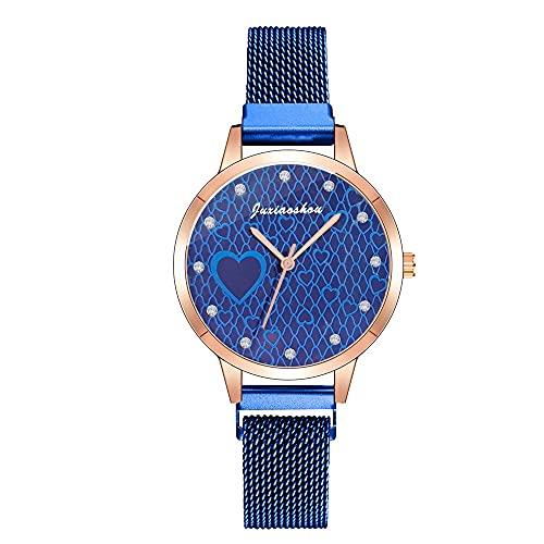 CXJC Reloj de Las Damas de Cuarzo de 36 mm. Conjunto de cinturón de Malla de Acero Inoxidable con Reloj de Moda de Amor de Diamantes de imitación. (Color : Re)