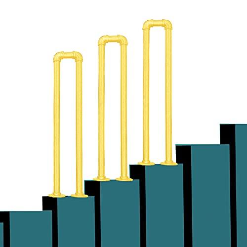 PINFU Barandilla Pasamanos de transición de Metal para Cemento Escalones de hormigón y escalones de Madera Varilla de Soporte de Pasillo Antideslizante Barandillas de Hierro Forjado Tipo U