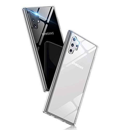Aunote Handyhülle für Samsung Galaxy Note 10 Plus Hülle, Note 10 Plus Handyhülle, Note 10 Plus Schutzhülle, Glashülle [Dünn 9H Hartglas + TPU Bumper] [Kratzfeste] [Stoßfest] Rückseite Cover Hülle. Klar