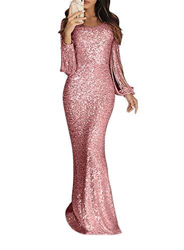 Minetom Damen Festlich Hochzeit Kleider Glänzend Pailletten Elegant Lang Abendkleid Langarm Quaste Cocktailkleid Maxikleid Partykleid A Rosa DE 42