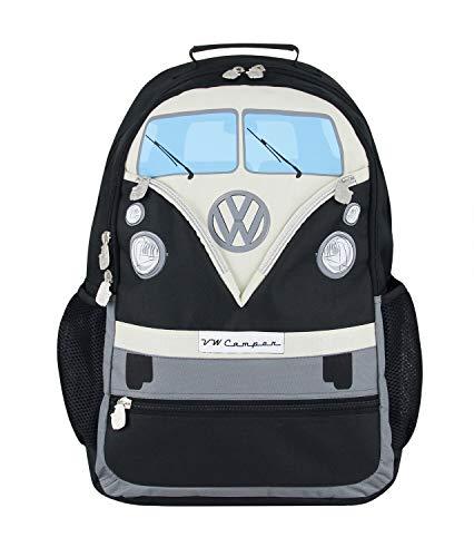 BRISA VW Collection - Stylisher & lässiger Volkswagen Wander-Laptop-Tages-Schul-Rucksack mit VW T1 Bulli Bus (Bis 17.1 Zoll/Front/30l/M-L/Schwatz)
