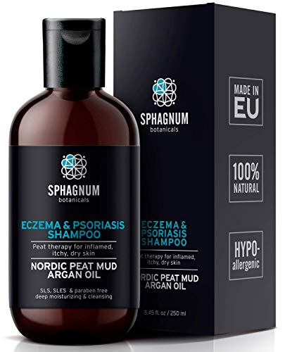 Psoriasis Shampoo with Peat Mud - Natural Scalp Treatment with Argan Oil. Also Suitable for Eczema, Anti Dandruff and Dermatitis. Contains No Sulfates, No Coal Tar. Great for Itchy Scalp Relief.