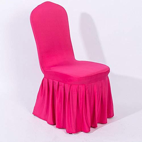 Jasken yyqx container Volltonfarbe Stuhl Set elastisches Tuch große Schaukel Rock Tisch und Stuhl Set Hotel Hotel Hochzeit VIP Volltonfarbe Abdeckung 2 Sätze, Rose Red Standard